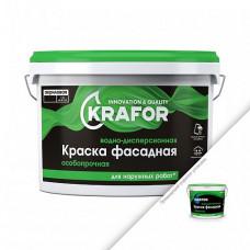 Краска Krafor Фасадная особопрочная белая 6,5 кг для стен и фасадов