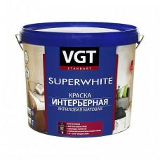 Краска VGT ВД-АК-2180 интерьерная супербелая A матовая 7 кг для стен и потолков