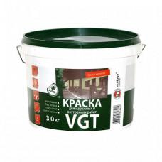 Краска VGT ВД-АК-1180 для наружных и внутренних работ моющаяся белоснежная матовая 3 кг