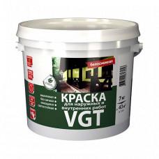 Краска VGT ВД-АК-1180 для наружных и внутренних работ моющаяся белоснежная матовая 7 кг