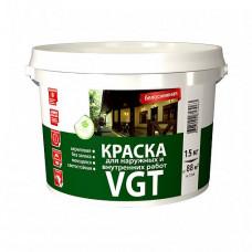 Краска VGT ВД-АК-1180 для наружных и внутренних работ моющаяся белоснежная матовая 15 кг