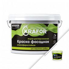 Краска Krafor Фасадная белая 6,5 кг для стен и фасадов