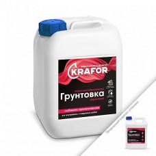 Грунтовка Krafor глубокого проникновения универсальная белая 1 л для стен и пола